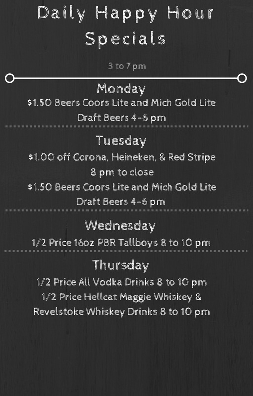 Daily happy hour specials at Bunker's bar in minneapolis